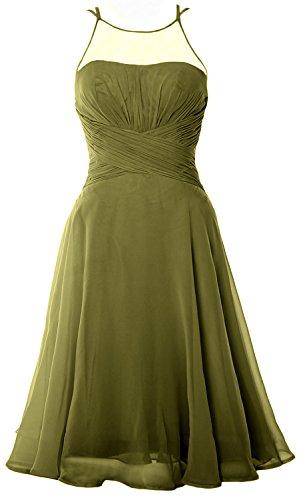MACloth Elegant Illusion Short Cocktail Dress Chiffon Wedding Party Formal Gown Verde Oliva