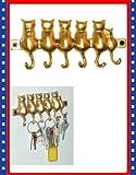 New Cute Brass Kitty Cat Tail 6 Key Hanger Hooks Rack