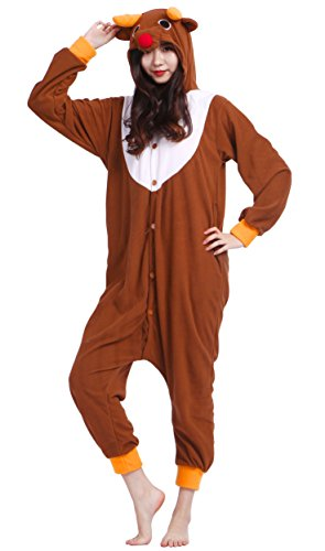 Unisex Adult Animal Pajamas Plush One Piece Cosplay Elk (160-175cm) Christmas Onesies Adults