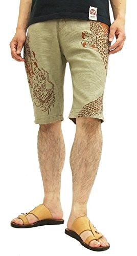 Karakuri Men's Shorts 252807 Dragon Embroidery Japanese Design (36) Beige ()