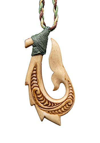 Hook Meaning Maori Fish (Earthbound Pacific Hand Carved Solid Aged Bone Stylized Hawaiian Fish Necklace Hook Whale Tail)