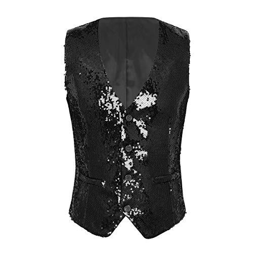 Agoky Men's Shiny Sequins Suit Jacket Vest Button Down Vests Formal Business Dress Suits Waistcoat Black Medium -