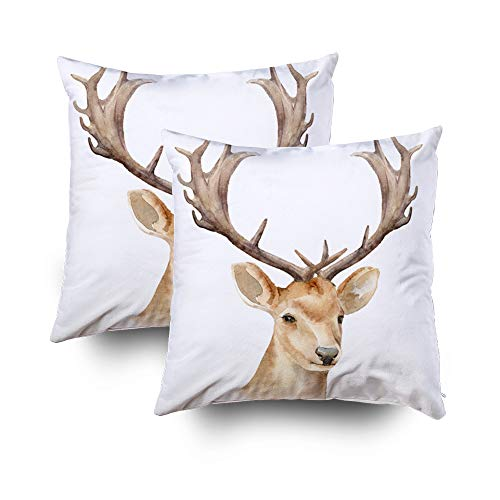 (TOMWISH 2 Packs Hidden Zippered Pillowcase Christmas The Head a Male Deer Horns Isolated Background Boho 20X20Inch,Decorative Throw Custom Cotton Pillow Case Cushion Cover for Home)
