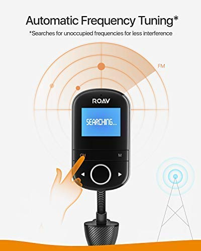 Anker Roav SmartCharge F3 Wireless Bluetooth 4 2 FM Transmitter for Car,  Audio Adapter and Reciever Car Kit, 1 44 Inch Display, Dedicated App, Quick