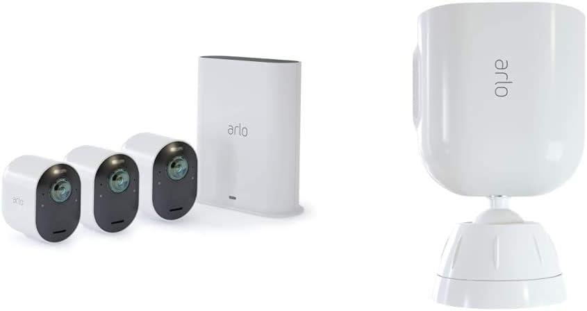 3 Caméras Ultra 4K Hdr Avec Station D'Acceuil et Support Aimanté Blanc...