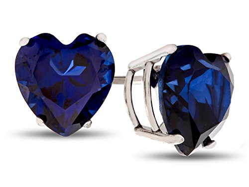 Finejewelers 7x7mm Heart Shaped Created Sapphire Post-With-Friction-Back Stud Earrings 14 kt White Gold