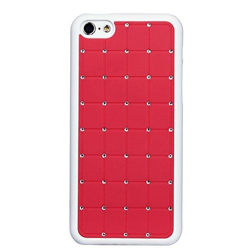 Super Best Iphone 5c CRISTAL DE LUXE Croix-Rouge Case Hard Cover Bling de diamant avec cadre blanc pour Apple iPhone 5C