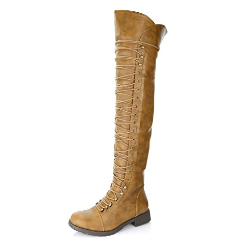 DailyShoes Women's Lace Up Thigh High Boots - Vegan Easy Lace Up Design with Zipper Trendy Mility Style Boot, Tan PU, 9 B(M) US by DailyShoes
