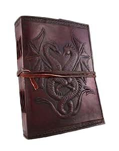 Embossed Leather Dual Dragons 120 Leaf Journal by Things2Die4