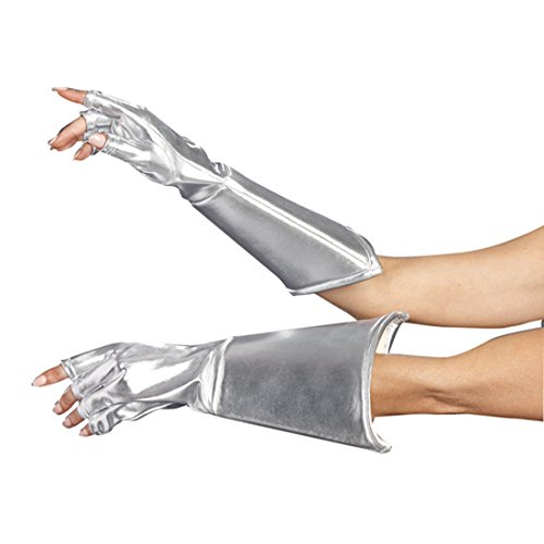 Dreamgirl Women's Intergalactic or Knight Costume Accessory, Medieval Galaxy Gloves, Silver, One Size]()