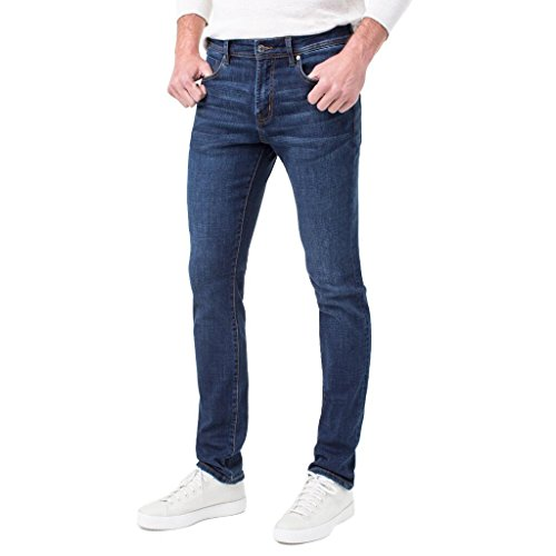 Liverpool Jeans Men's Slim Fit Straight Crosshatch Coolmax Stretch Denim Jeans, Navajo Dark Navy, 31W x 30L ()