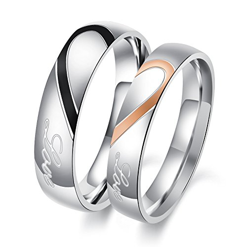 OPK Jewelry His and Her Stainless Steel Heart Shape Matching Set Real Love Couples Wedding Band (A Pair) (Set Hers Ring)
