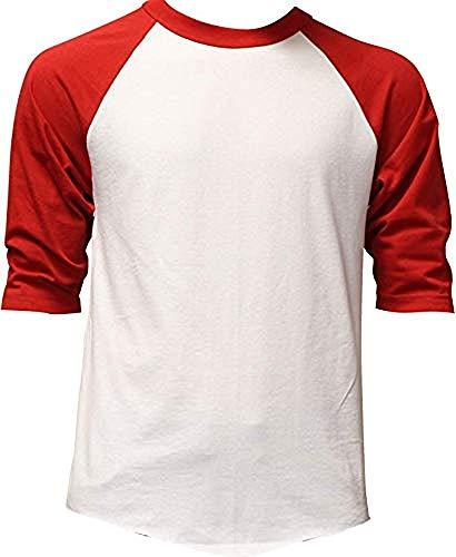 - DealStock Casual Raglan Tee 3/4 Sleeve Tee Shirt Jersey White/Red