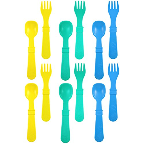 Re-Play Made in USA 12pk Toddler Feeding Utensils Spoon and Fork Set for Easy Baby, Toddler, Child Feeding - Yellow, Aqua, Sky Blue (Surf) 6 Spoons/6 Forks