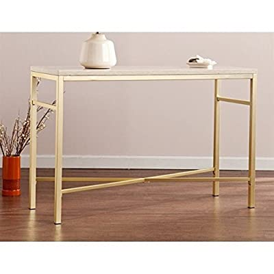 Southern Enterprises CK3943 Orinda Travertine Faux Stone Console Table - Finish: Travertine and Matte Brass Materials: MDF, Paper Veneer and Plated Iron Tube Cream colored stone look tabletop - living-room-furniture, living-room, console-tables - 41Fct3%2BcKXL. SS400  -