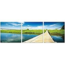 SLS Vision. Country Side Escape. 48 x 16 inches. Ready to Hang Contemporary Art Modern Wall Decor, 3 Panel Commercial Grade Machine Framed Giclee Canvas Print. Home Decoration Painting. A1027