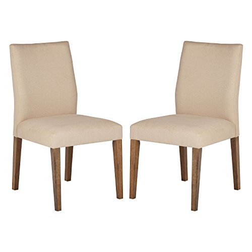 Stone & Beam Hughes Casual Wood Kitchen Dining Chair, Set of 2, Beige