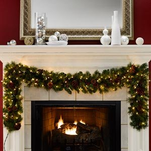 2 7m 9ft Pre Lit Artificial Garland With Clear Lights Amazon Co