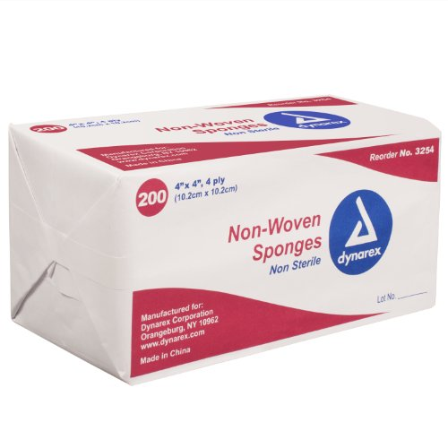 Dynarex 3254 Non-Woven Sponge 4 Ply, 200 Count - Pack of 10