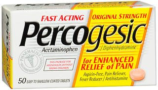 (Percogesic Acetaminophen/Diphenhydramine, Original Strength, Coated Tablets - 50 Tablets, Pack of 4)