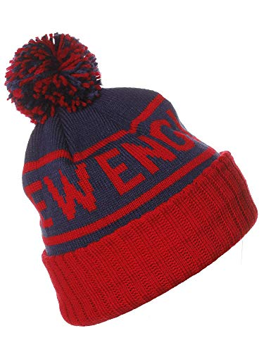 American Cities New England City Cuff Cable Knit Pom Pom Beanie Hat Cap New England