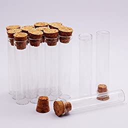 15pcs 10ml Cuvette Glass Bottles, Corked Vials , Various Sizes, Clear, Mini Glass Bottles Message Charm Kit with Weddings Wish Jewelry
