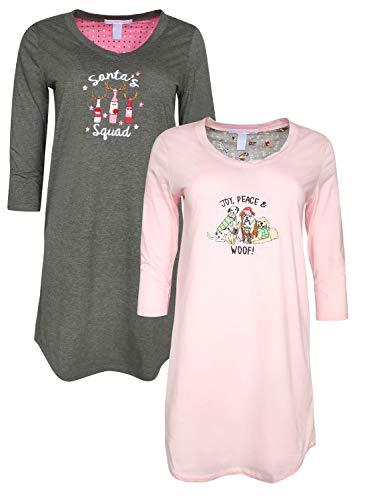 Pillow Talk Women\'s Sleepwear (2-Pack) 3/4 Sleeve V-Neck Embroidered Night Shirt, Santas Squad, X-Large' (Birthday 3/4 Sleeve)