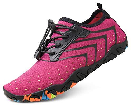 kealux Women Men Barefoot Quick-Dry Water Shoes Multifunctional Beach Sneakers for Beach Swim Surf Diving Aqua Sports Pool Boating Walking Park Yoga Lake(C Pink)-39