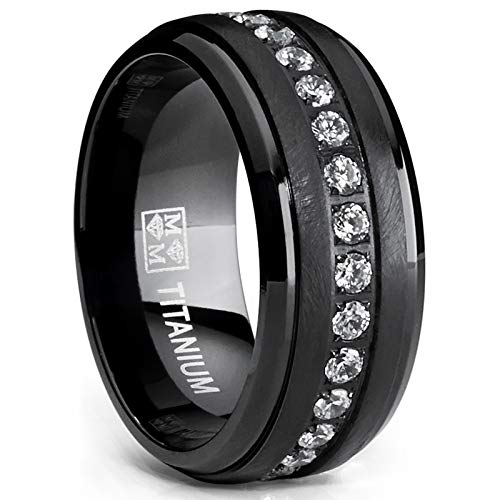 Cubic Eternity Band Zirconia Clear - Metal Masters Co. Black Titanium Men's Eternity Wedding Band Ring with Clear Round Cubic Zirconia 9mm Size 8
