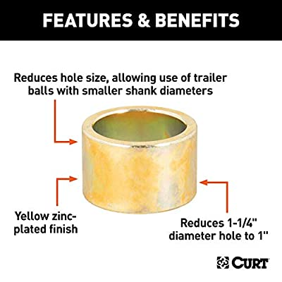 CURT 21200 Trailer Hitch Ball Hole Reducer Bushing, Reduces 1-1/4-Inch Diameter to 1-Inch: Automotive