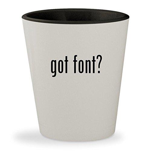 got font? - White Outer & Black Inner Ceramic 1.5oz Shot - Fonte Glasses La