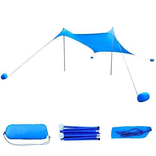 Geertop Beach Sunshade, Wind Resistant Canopy UPF 50+ Sun Protection Shelter, Large Tarp with 4 Sandbag Anchors (Blue, 8'10'' x 8'10'')