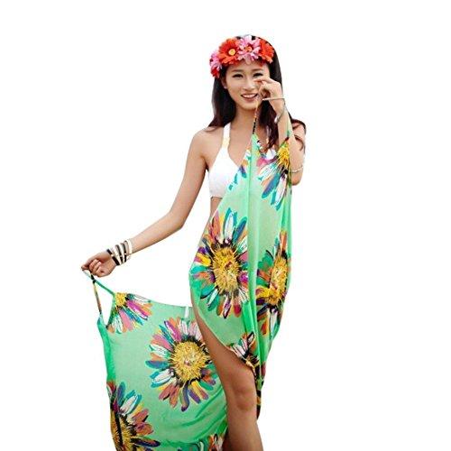 up Summer Bathing Women Suit Wrap Swimwear Bikini Beach Dress Green White Sarong Cover Pareo rqrn8gU1E