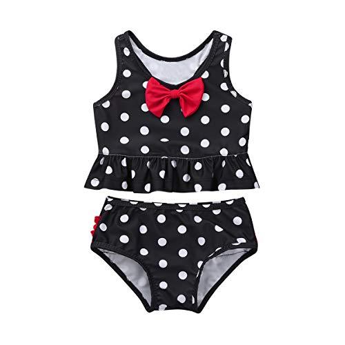 YiZYiF Baby Girls 2-Piece Swimsuit Princess Polka Dot Ruffles Peplum Tankini Swimwear Bathing Suit Black 3-4