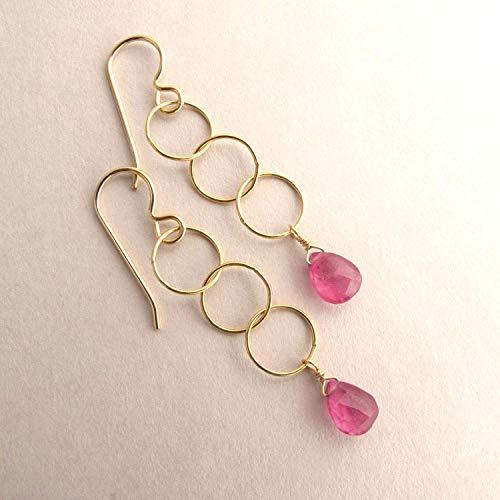 - Genuine Pink Sapphire Gemstone September Birthstone Gift Long Dangle Drop Earrings 14k Gold Filled