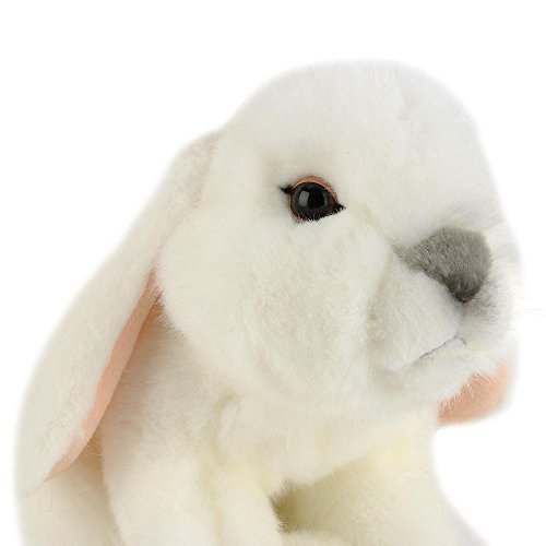 Animal Alley - 10 inch WHITE BUNNY Plush - Adorable Bunny is Covered in Super-Soft White Fur. Cute Floppy Ears, Whiskers and a Fluffy Tail