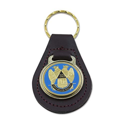32nd Degree Scottish Rite Black Leather Light Blue & Gold Medallion Masonic Key Chain - 3 3/8