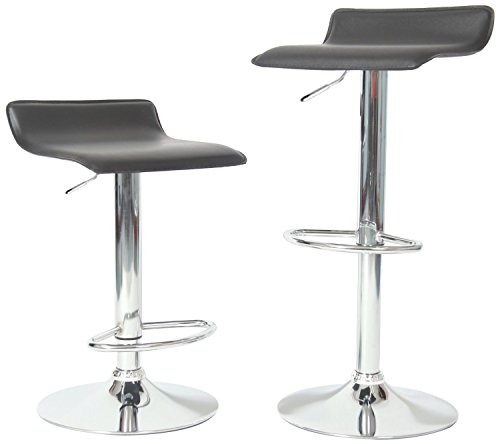 Roundhill Furniture Contemporary Chrome Air Lift Adjustable Swivel Stools with Black Seat, Set of 2 (Contemporary Kitchen Stools)