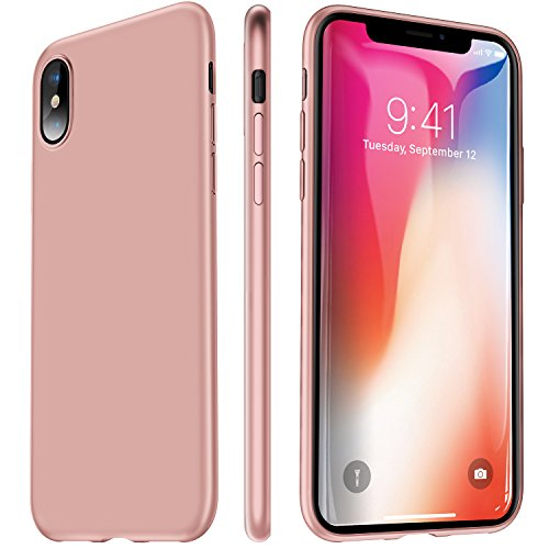 VANMASS iPhone X Case, 0.5MM Ultra Thin Slim Fit Full Protective iPhone 10 Shell with Super Soft TPU Material and Anti-Scratch Matte Back Cover Case for iPhone X – Rose Gold