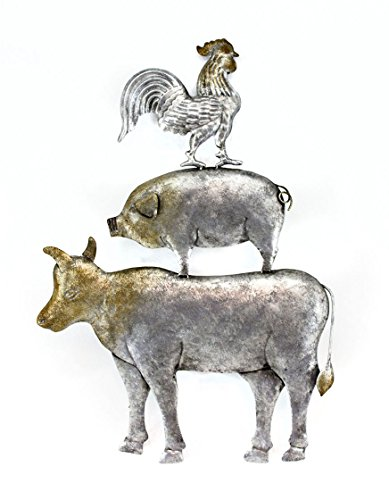 Tin Decorative Wall Plaques Galvanized Finish Cow Pig Rooster Stack Wall Hanging 23 Inches High 16.5 X 23 X 0.75 Inches Silver (Stacked Animals)