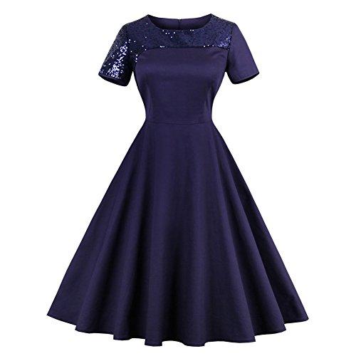 iShine Festliche Kleid Damen Kurzarm 1950er Vintage Rockabilly Faltenrock Knielang Partykleid Cocktailkleid mit Pailletten