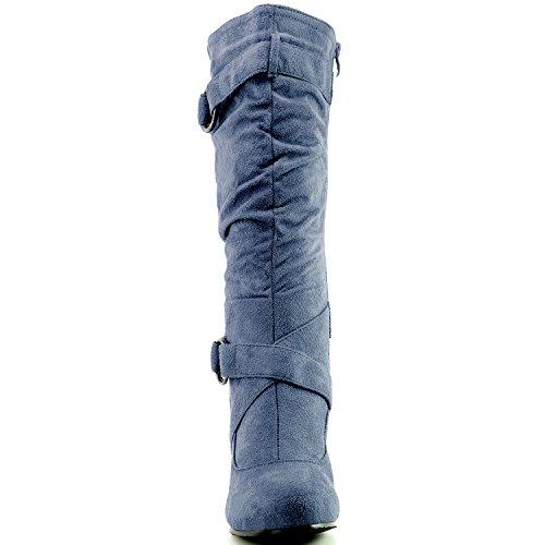 """Dailyshoes Damen Slouchy Mid Calf Riemchen Stiefel mit Knöchel und Top Straps - 2 """"Heel Fashion Boots Königsblau Sv"""