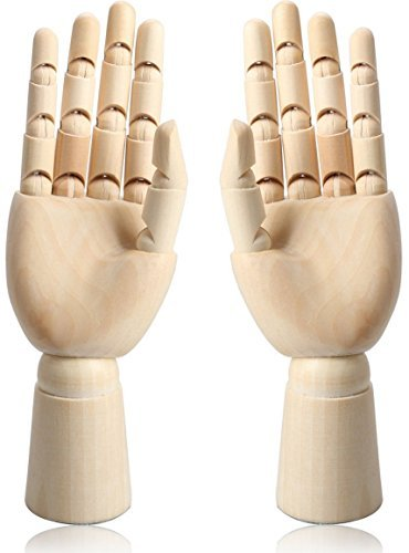 12 Wooden Hand Body Artist Model Jointed Articulated Flexible Fingers Wood Sculpture Mannequin Model Pair Of Hands