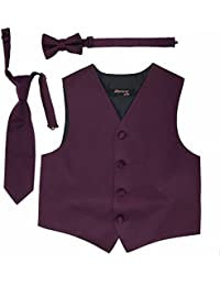 Boys Formal Tuxedo Vest Tie and Bowtie Set Variety Of Colors