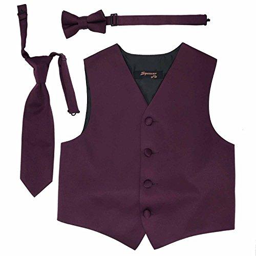 Spencer J's Boys Formal Tuxedo Vest Tie Bowtie Set Variety Colors (5-6, Plum)