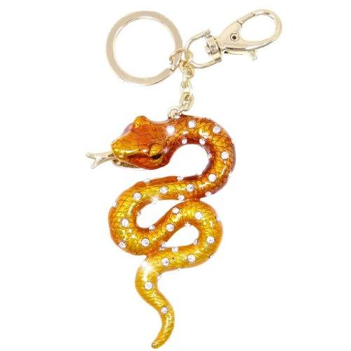 Gold Tone Keychain (EVER FAITH Snake Austrian Crystal Brown Enamel Keychain Gold-Tone)