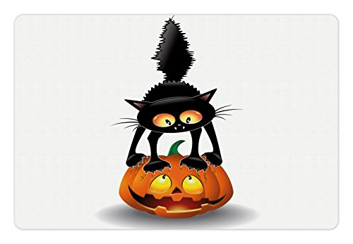 Ambesonne Halloween Pet Mat for Food and Water, Black Cat on Pumpkin Drawing Spooky Cartoon Characters Halloween Humor Art, Rectangle Non-Slip Rubber Mat for Dogs and Cats, Orange (Easy Cartoon Characters For Halloween)