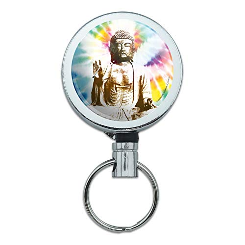 Tie Dyed Buddha Serenity Heavy Duty Metal Retractable Reel ID Badge Key Card Tag Holder with Belt Clip
