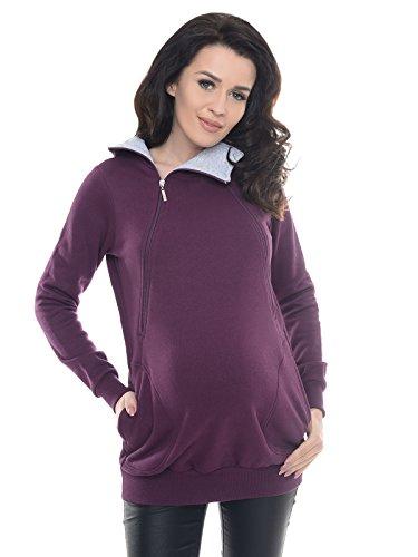 Purpless Maternity 2in1 Pregnancy and Nursing Sweatshirt Hoodie Hooded Top 9052 (4, Plum)