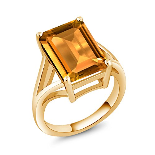 ow Citrine 18K Yellow Gold Plated Silver Solitaire Ring ()